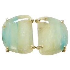 Natural Translucent Peruvian Opal Button Earrings