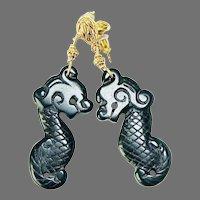 Carved Black Onyx Dragons Drop Earrings
