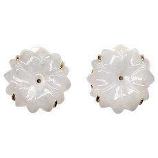 Carved White Jade Flower Button Earrings