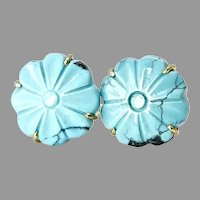 Carved Chinese Turquoise Flower Button Earrings