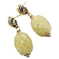 Golden Serpentine Basket Weave Drop Earrings