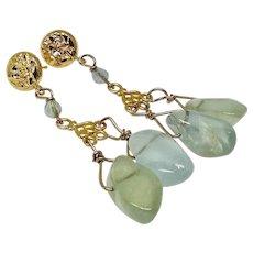 Natural Aquamarine Nuggets Drop Earrings