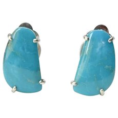 Chinese Turquoise and Sterling Silver Button Earrings