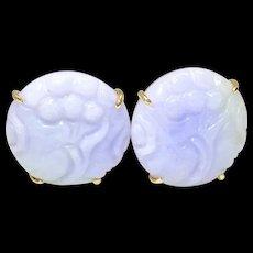 Natural Lavender Jade Lotus Button Earrings