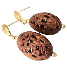 Carved Betel Nuts - Chinese Scene -Drop Earrings