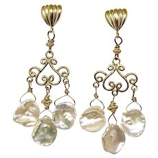 White Keishi Petal Pearl Chandelier Drop Earrings