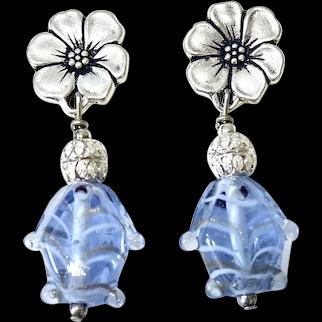 Blue Glass Lamp Work Fish Drop Earrings