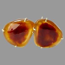 Rich Carnelian Agate Button Earrings