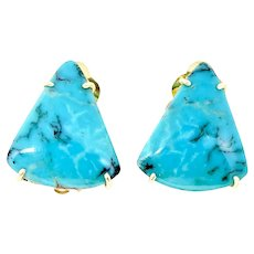 Brilliant Chinese Turquoise Button Earrings