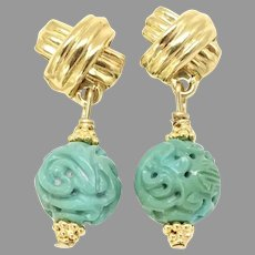 Carved Chinese Turquoise Dragon, Long Life Drop Earrings