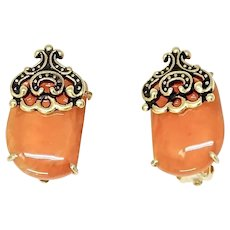 Carnelian Button French Clip Earrings
