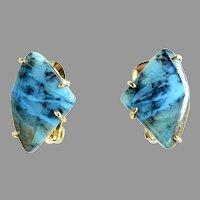 Natural Rich Turquoise Peruvian Opal Button Earrings