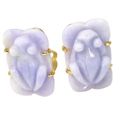 Carved Lavender Jade Frog Button Earrings