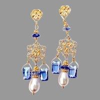Blue Cubic Zirconia, Pearl Drop Chandelier Earrings