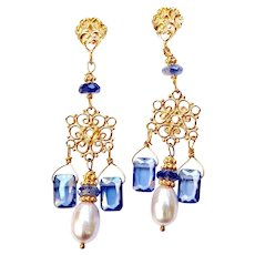 Blue Cubic Zirconia, Pearl Drop Chandelier Earrings
