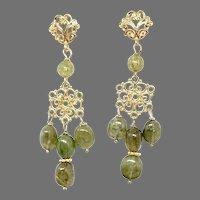 Gorgeous Green Garnet Chandelier Drop Earrings