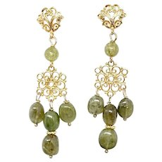 Gorgeous Green Garnet Chandelier Drop Earrings