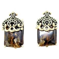 Golden Brown Pietersite French Clip Button Earrings