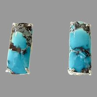 Brilliant Natural Chinese Turquoise Button Earrings