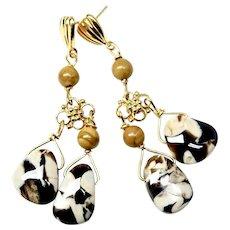 Fancy Peanut Jasper Drop Chandelier Earrings