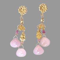 Pink Chalcedony Chandelier Drop Earrings