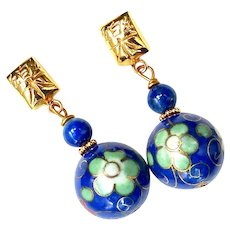 Blue Chinese Cloisonne and Lapis Drop Earrings