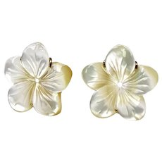 Creamy White Mother of Pearl Flower Button Earrings