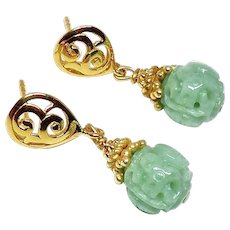 Carved Natural Green Jade Dragon and Long Life Drop Earrings