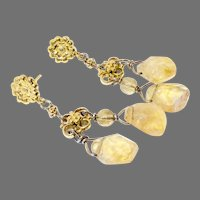 Golden Citrine Fancy Drop Earrings