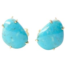 Brilliant Sea Blue Turquoise Button Earrings