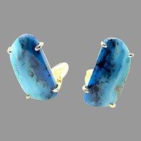 Rare and Briliant Peruvian Opal Button Earrings