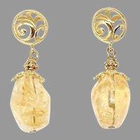 Golden Citrine Nugget Drop Earrings