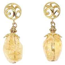 Golden Citrine Nugget Drop Earrings