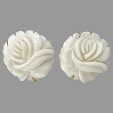 Carved White Bone Flowers - Roses - Button Earrings