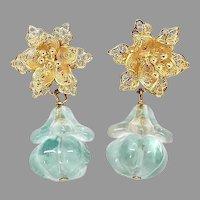 Stunning Blue Fluorite Melon, Filigree Flower Drop Earring