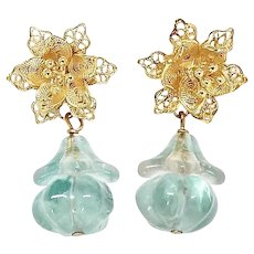 Stunning Blue Fluorite Melon, Filigree Flower Drop Earring