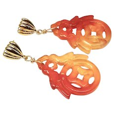 Carved Carnelian Orange Agate Double Birds Drop Earrings