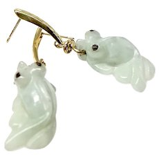 Carved Burmese Jade Fish Drop Earrings, 14K Gold