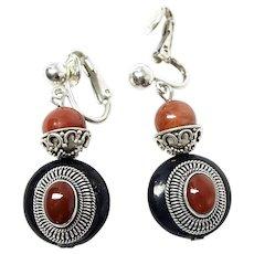 Black Onyx, Carnelian and Red Jasper Drop Clip Earrings