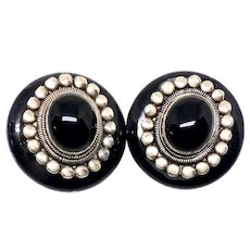 Black Onyx and Vintage Indonesian Silver Button Clip Earrings