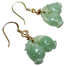 Carved Green Jade Double Peach Drop Earrings