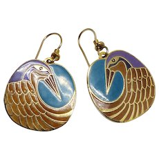 Vintage Laurel Burch Nile Bird Drop Earrings