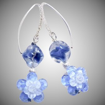 Blue Lamp Work Glass Flower Drop Earrings