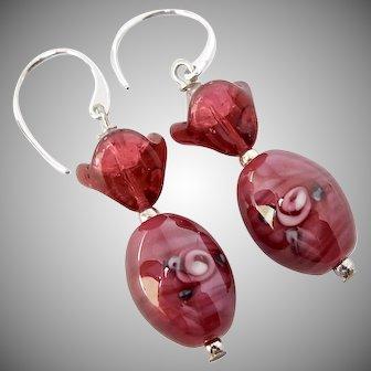 Czechoslovakian Rose Glass Drop Earrings