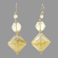 Vintage German Glass Drop Earrings