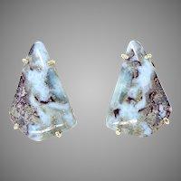 Blue Amazonite Button Earrings