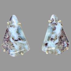 Unusual Blue Amazonite Button Earrings