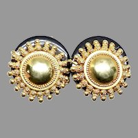 Indonesian 18K Gold Vermeil and Black Onyx French Clip Button Earring