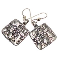 Vintage Indian Silver Goddess Pendant Drop Earrings
