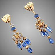 Blue Kyanite Drop Chandelier Earrings
